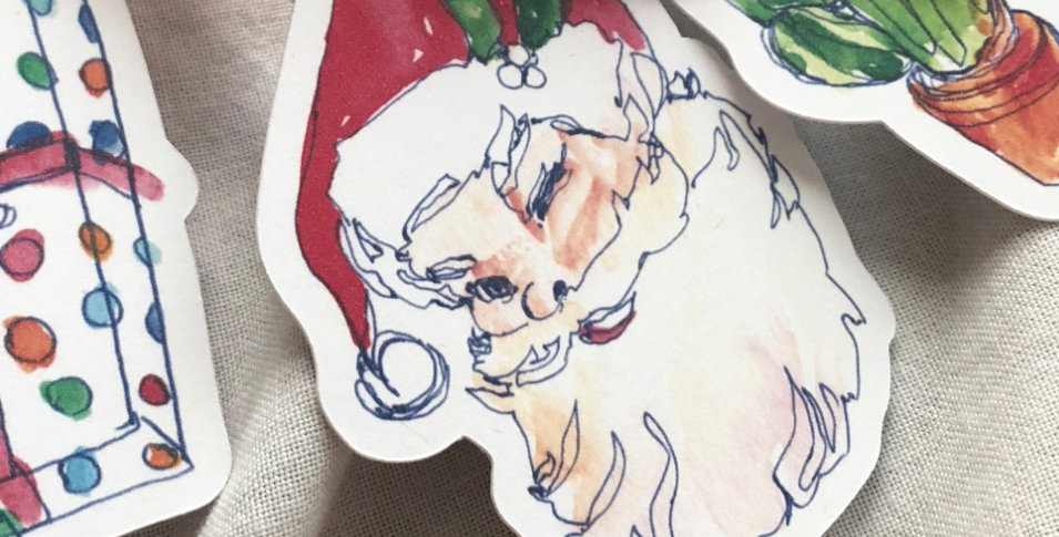 Winking Santa Ribbon Book Mark