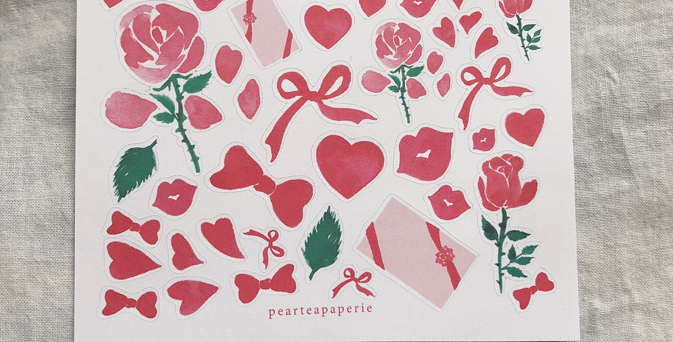 Red Rose and Valentine Stickers