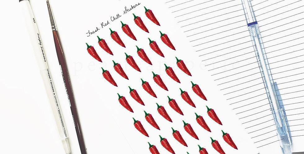 Fresh Red Chilli stickers