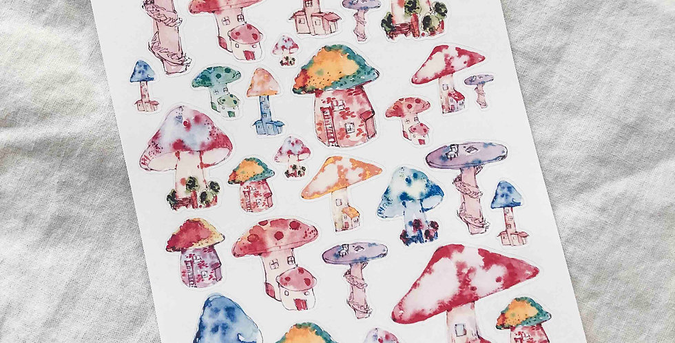 Tiny little Mushroom Village Stickers