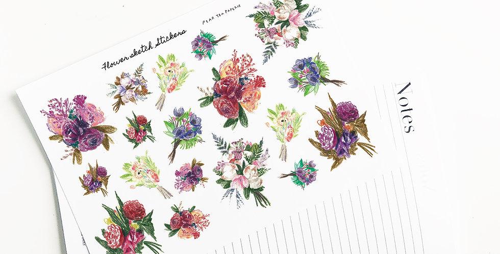 Flower sketch Stickers