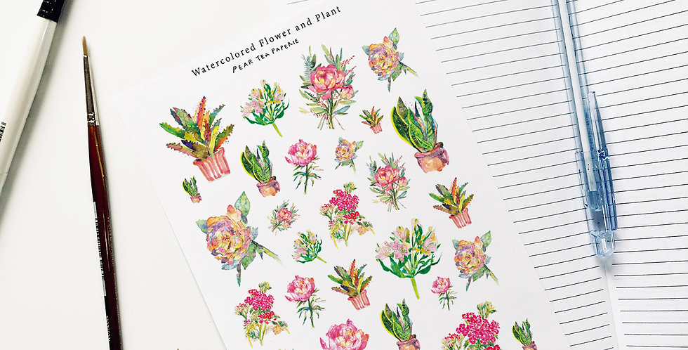 Watercolored Flowers and Plants