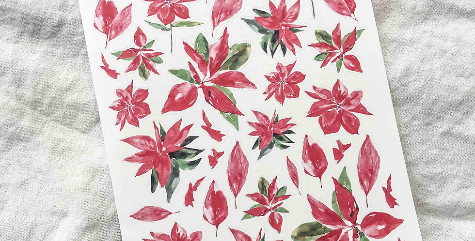 Watercolored Poinsettias Stickers