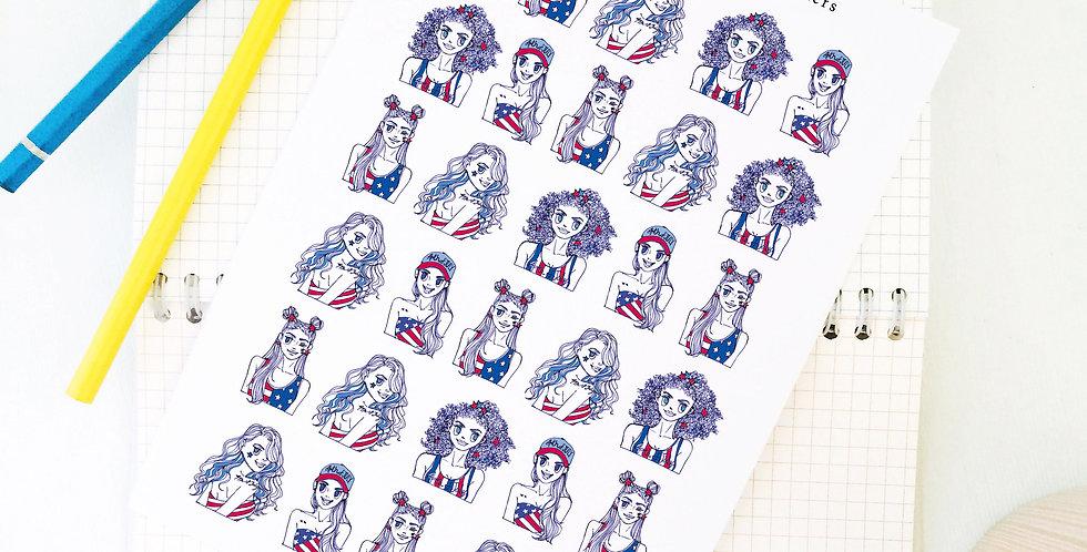 Mini 4th of July Girls Stickers!