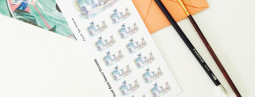 Polar Bear Family Stickers