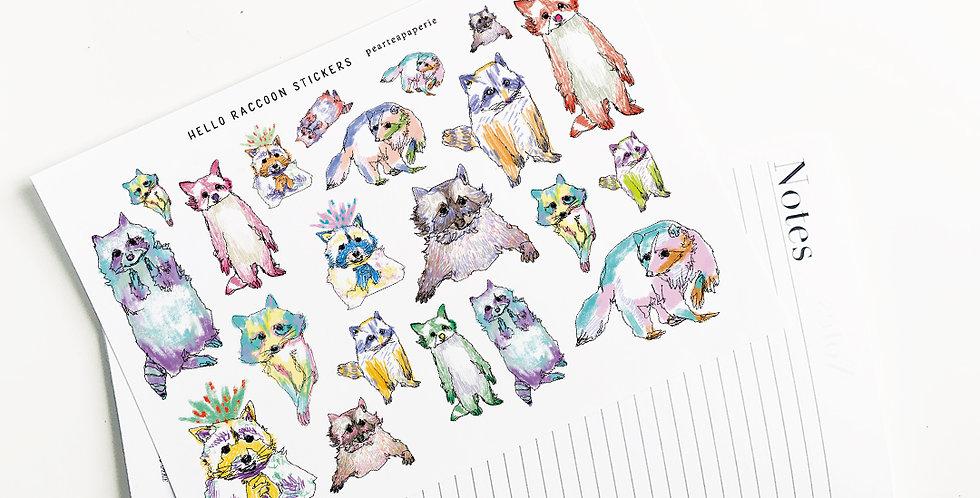 Hello Raccoon Stickers