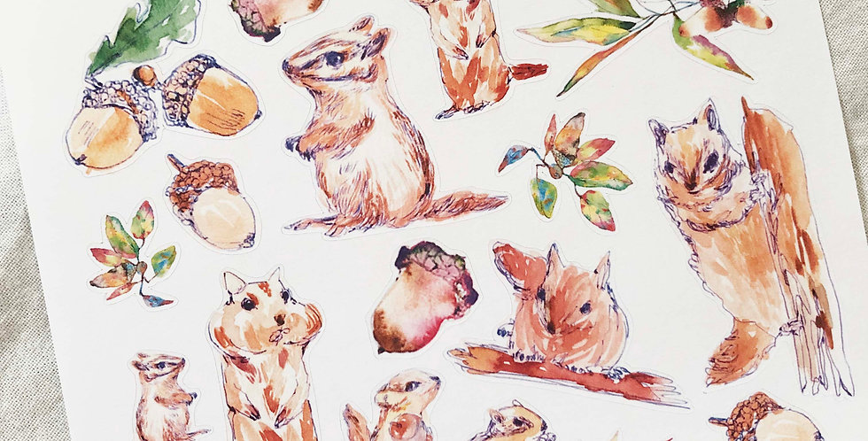 Squirrels and Acorn Branches Stickers