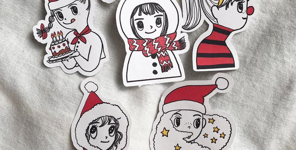 """Christmas Girls 2.5"""" Die cuts (SET)"""