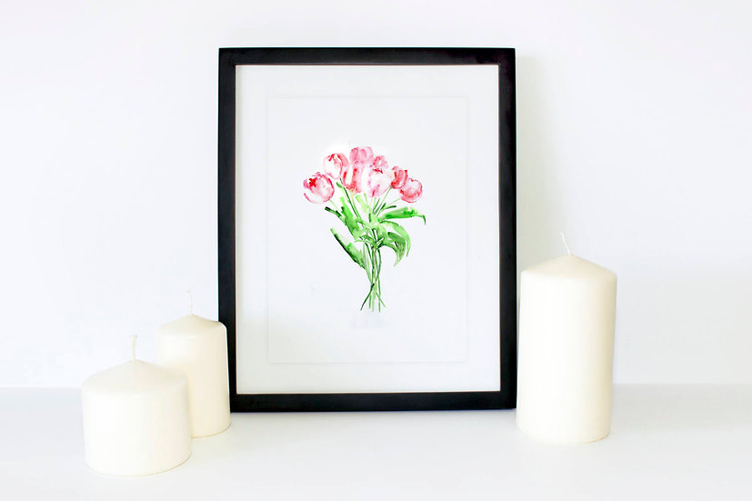 Red Tulip Flower Watercolor Poster