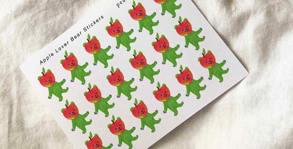 Apple Lover Bear Stickers -1