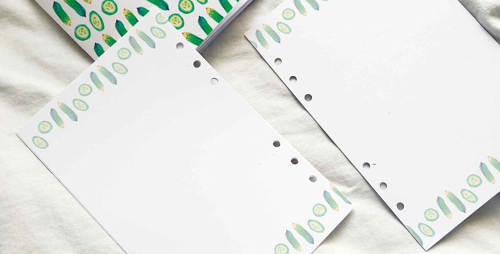 Cucumber Notebook Planner Inserts