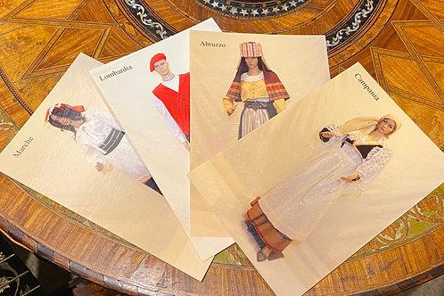 Postcards: Set of 4, Abruzzo, Lombardia, Marche & Campagnia