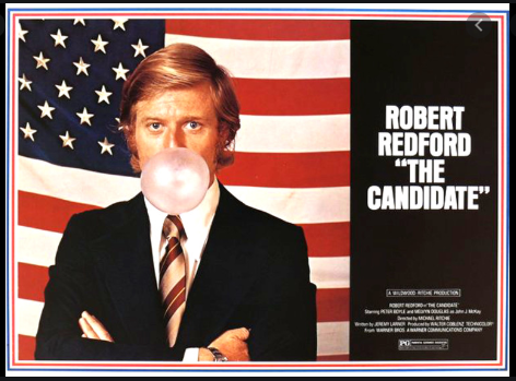 Actor Robert Redford blowing bubble gum in The Candidate