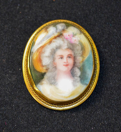 29 Gold Filled Hand Painted Victorian Pin
