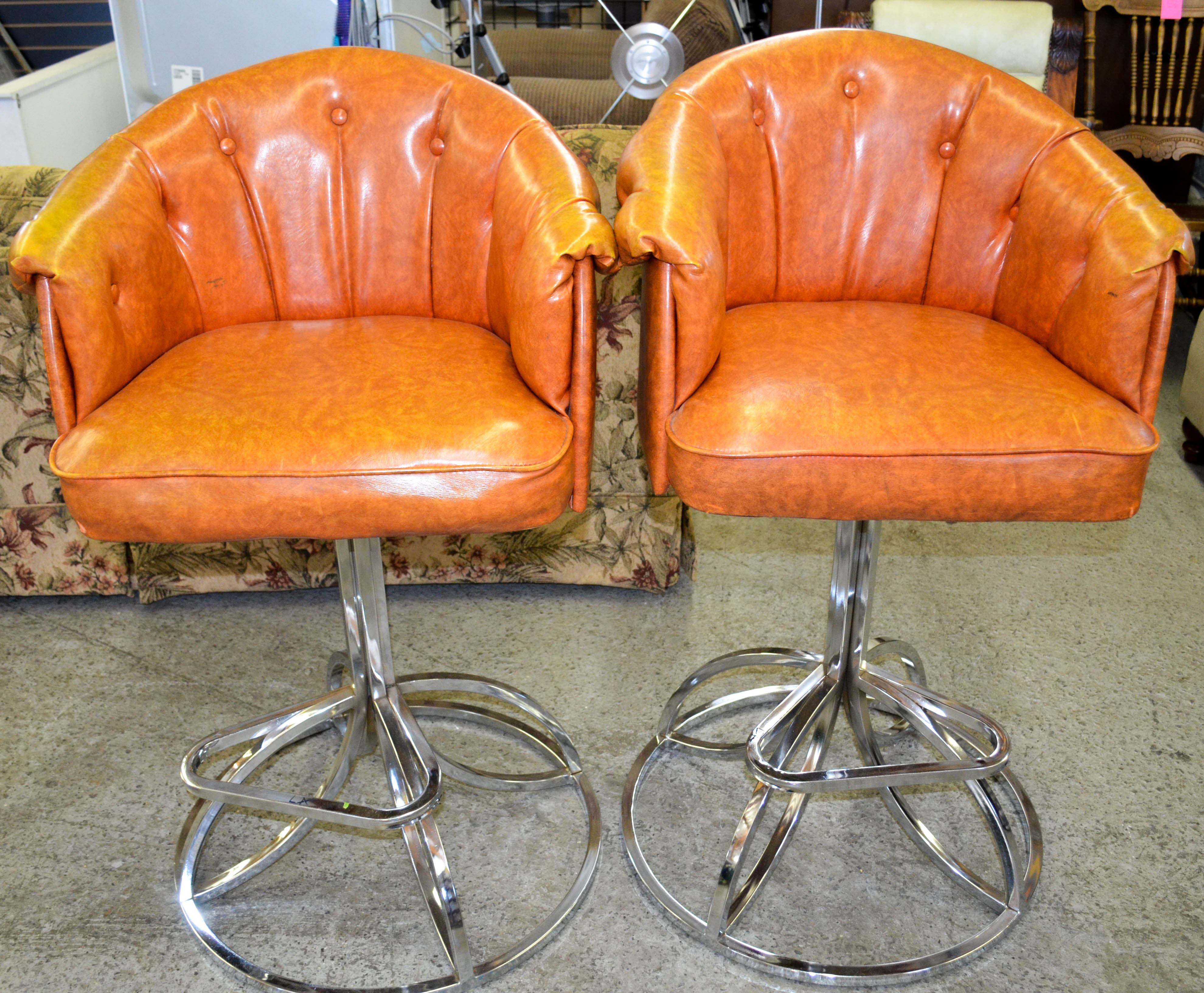 123 Orange Stool Chairs