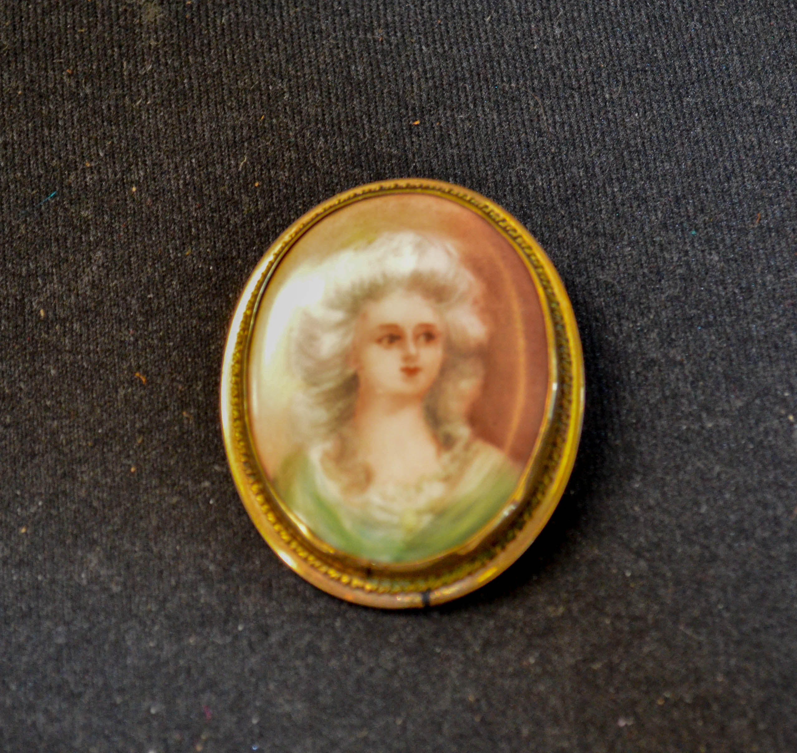28 Gold Filled Hand Painted Victorian Pin