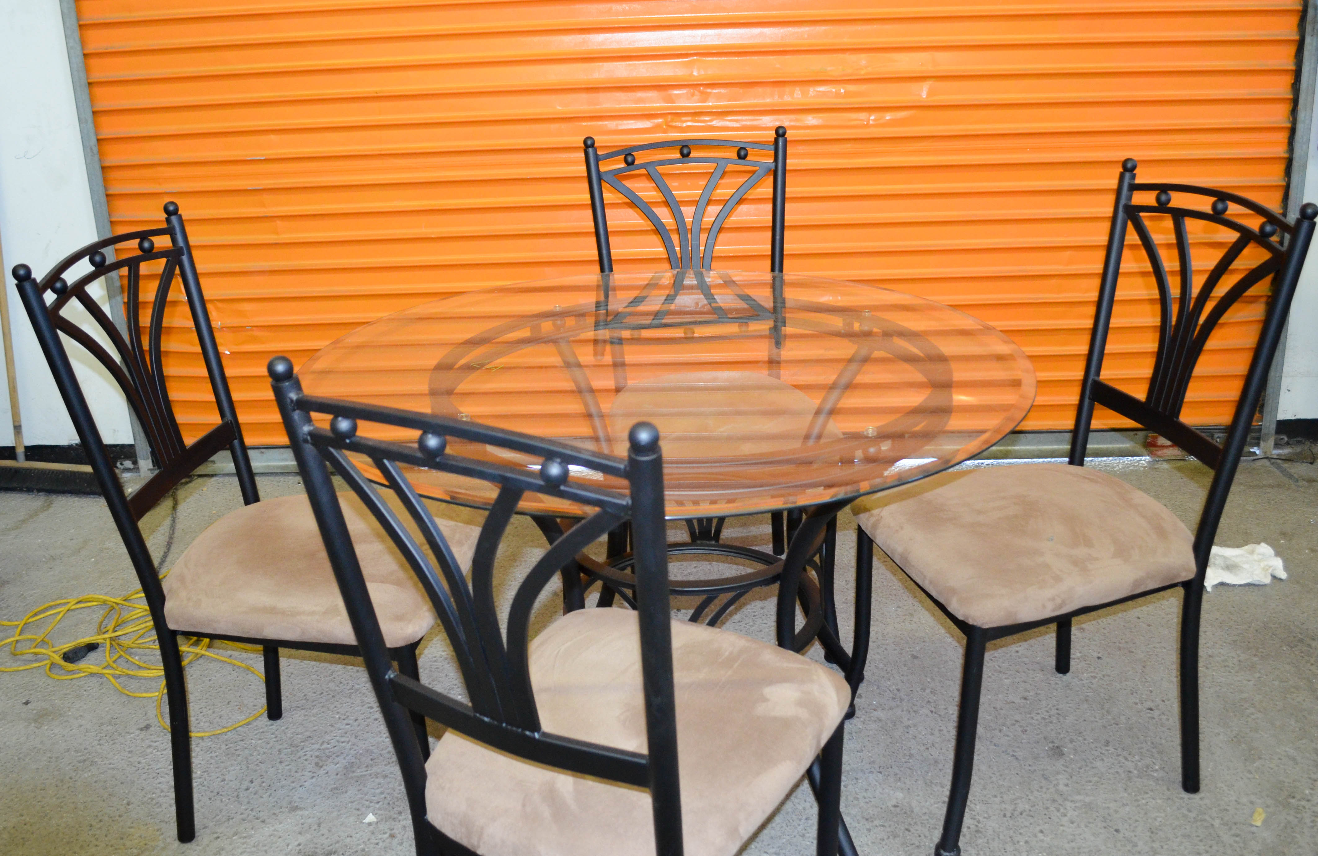 117 Glass Dinning Table with Four Chairs