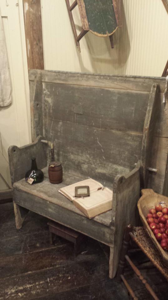 Zinc top settle bench
