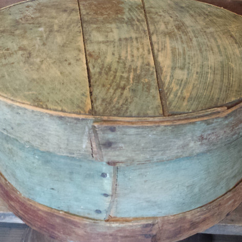 Cheese box in old green