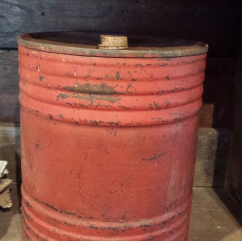 Gun powder tin barrel in red