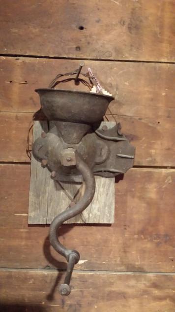 Primitive wall hanging coffee grinder