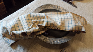 Early blue and white dish towel