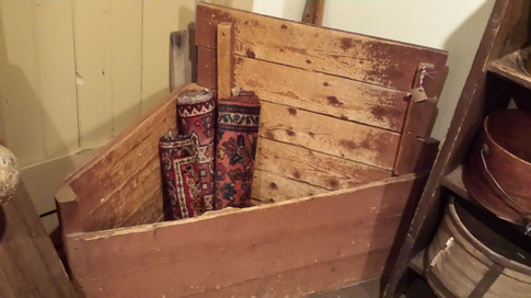 Corner wood box in old red