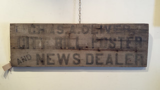 19th c. black and white wood sign