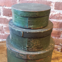 Set of pantry boxes in old green