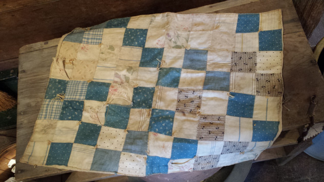 Doll quilt in old blues
