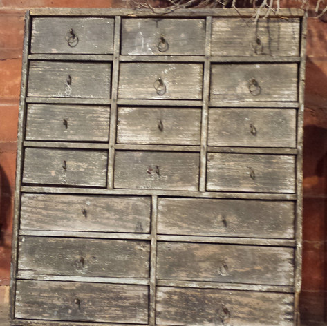 18 drawer box in old gray