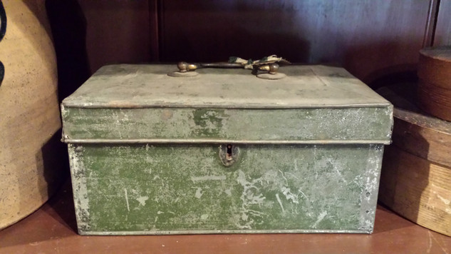 Tin document box in old green