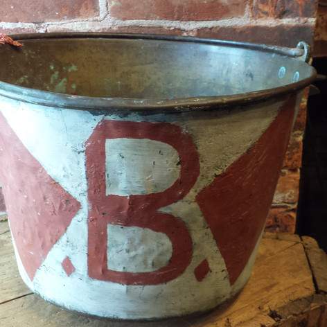 Folky brass pail with painting