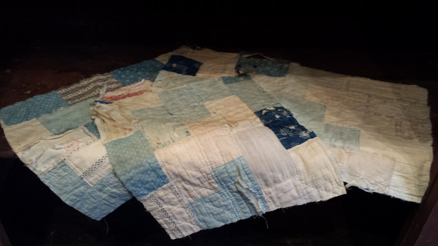 Blue and white quilt pieces
