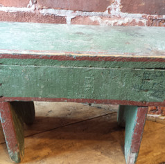 Stool in folky green and red