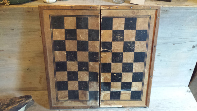 Folding wood and paper checkerboard