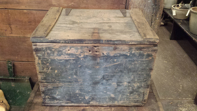 Primitive egg box in old blue