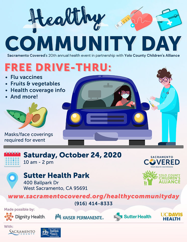 Healthy Community Day Saturday October 24th 10:00 to 2:00 Free vaccines, fruits and vegetables and more