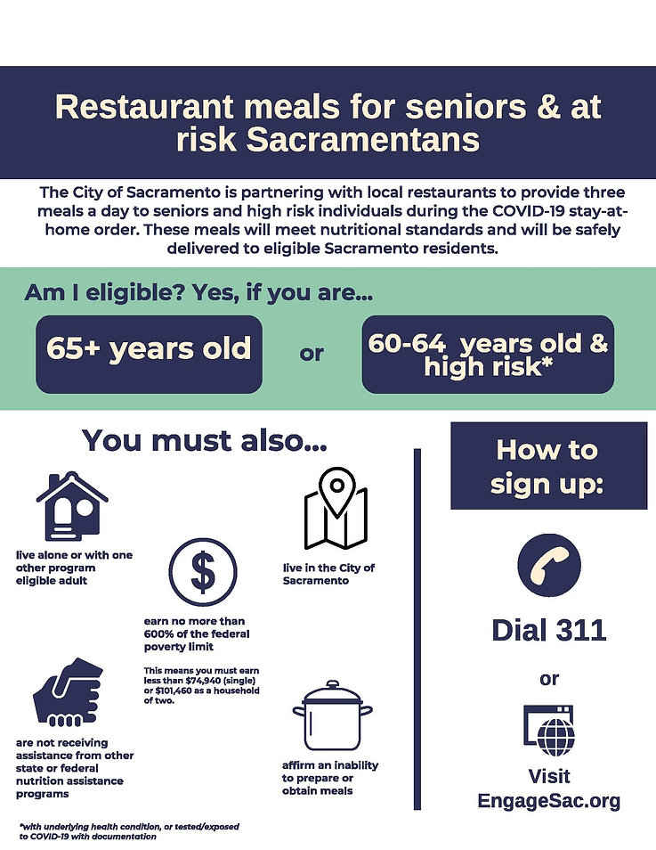 Eligibility requirements for Sacramento restaurant meals program