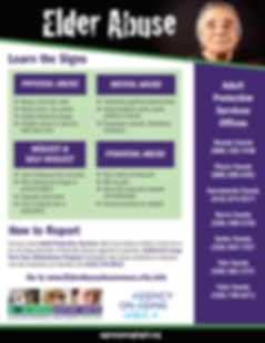Elder Abuse flyer call 916-376-8910 to report elder abuse