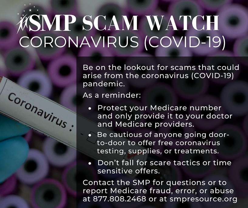 Coronavirus Scam watch bulletin from SMP