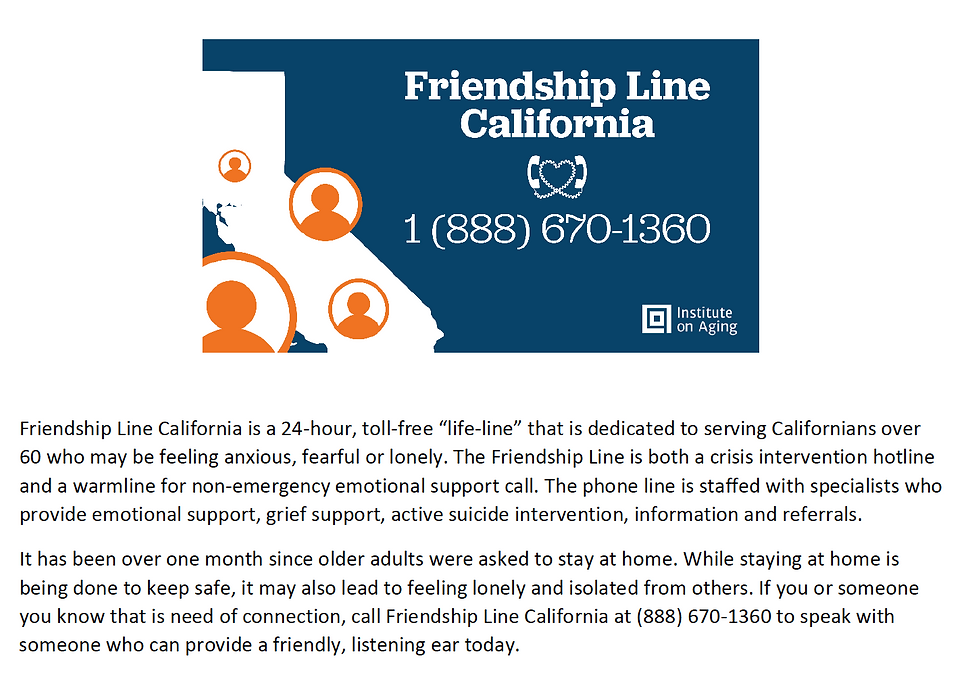 Friendship Line California logo and phone number 18886701360