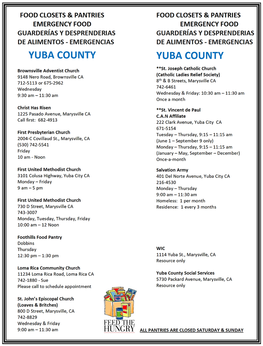 Flyer containing list of food closets in Yolo County
