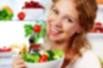 _Woman Eats Healthy Food Vegetable Veget