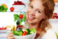 _Woman Eats Healthy Food Vegetable Veget