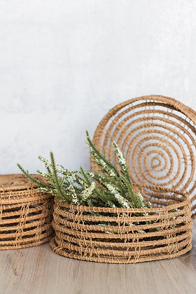 Woven Palm Basket with Lid