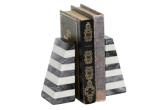 Striped Marble Bookends
