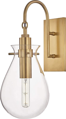 Brass Wall Sconce with Clear Shade