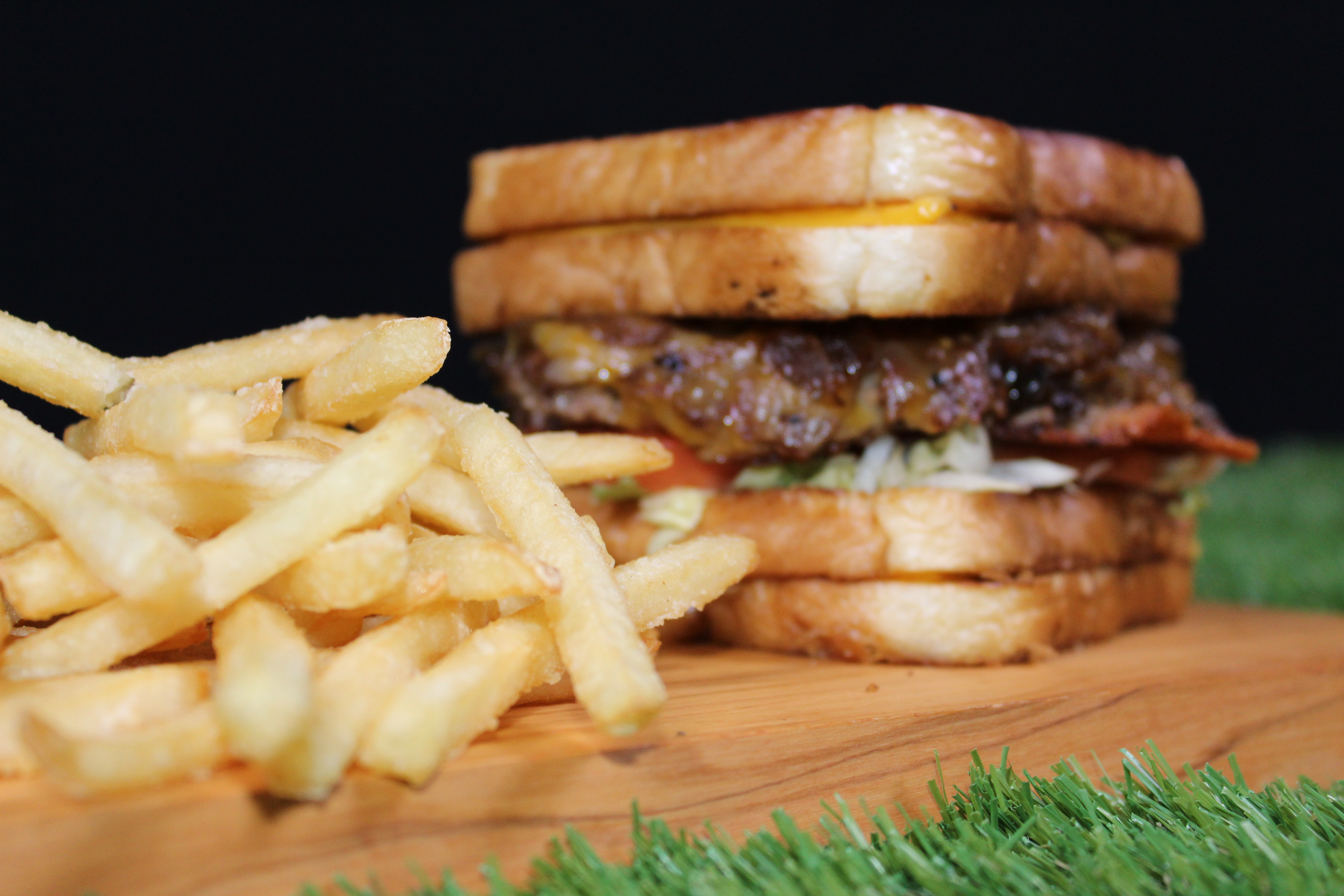 Grilled Chesse Buger and Fries
