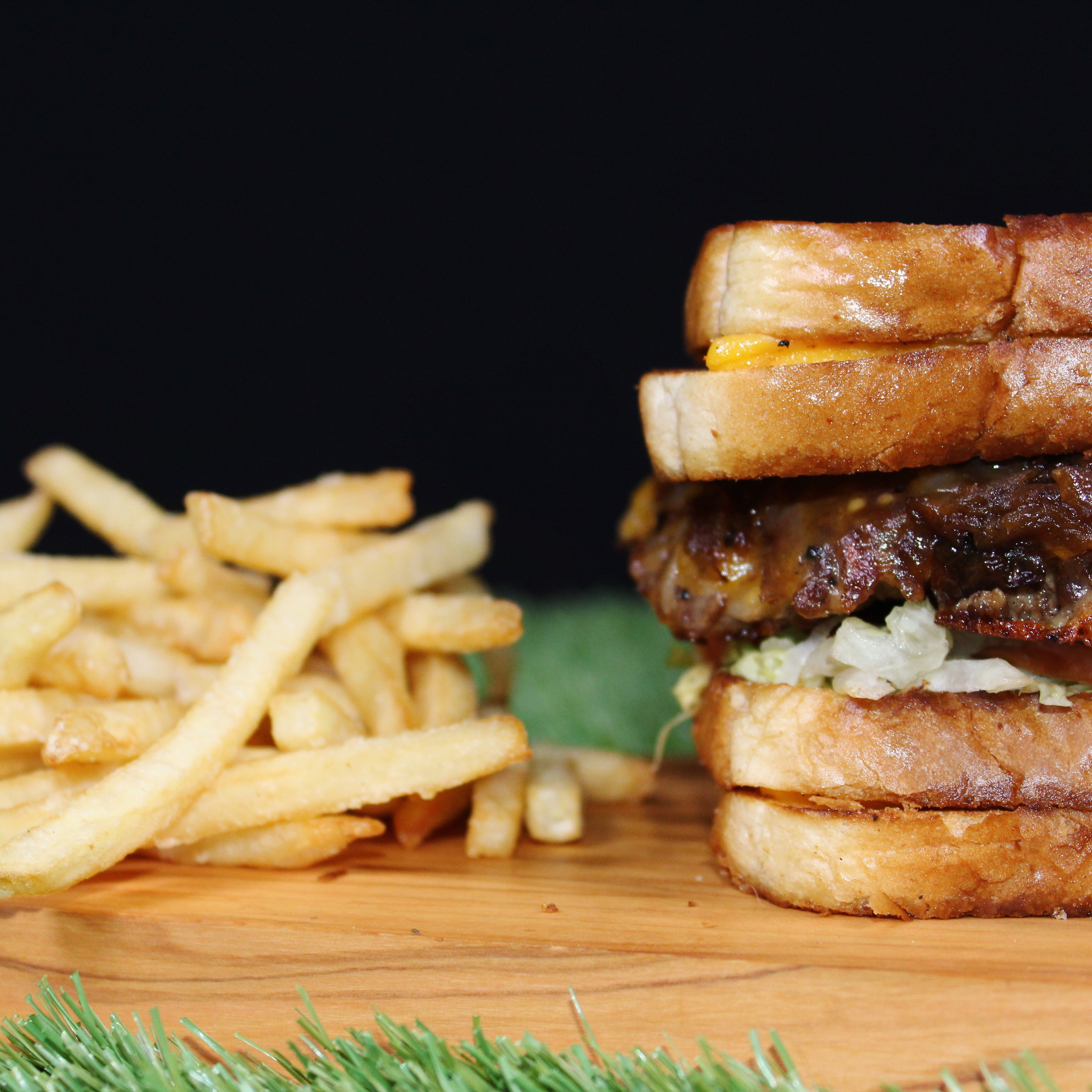 Grilled Cheese Burger and Fries